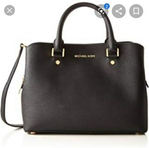 MICHAEL KORS SAVANNAH LEATHER BAG BLK